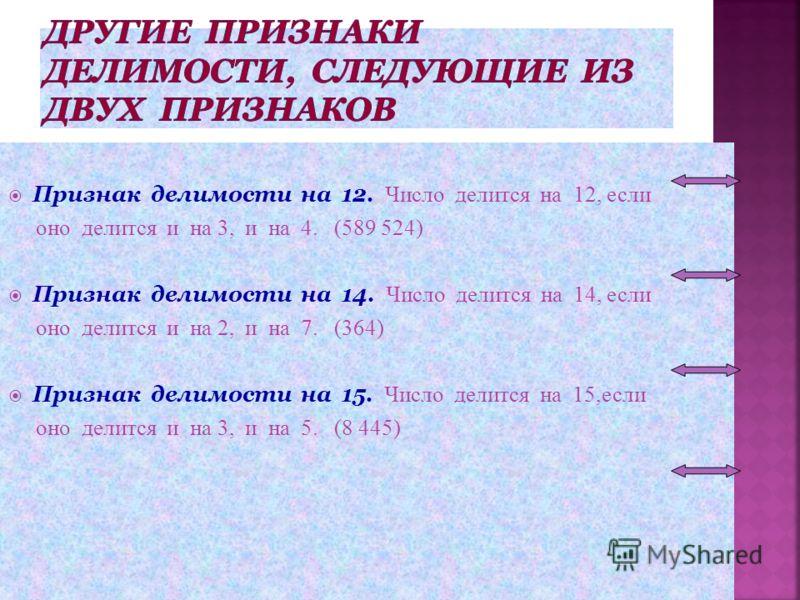 Признак делимости на 12. Число делится на 12, если оно делится и на 3, и на 4. (589 524) Признак делимости на 14. Число делится на 14, если оно делится и на 2, и на 7. (364) Признак делимости на 15. Число делится на 15, если оно делится и на 3, и на