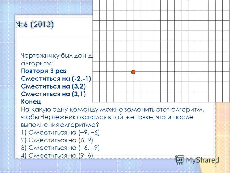 Чертежнику был дан для исполнения следующий алгоритм: Повтори 3 раз Сместиться на (-2,-1) Сместиться на (3,2) Сместиться на (2,1) Конец На какую одну команду можно заменить этот алгоритм, чтобы Чертежник оказался в той же точке, что и после выполнени