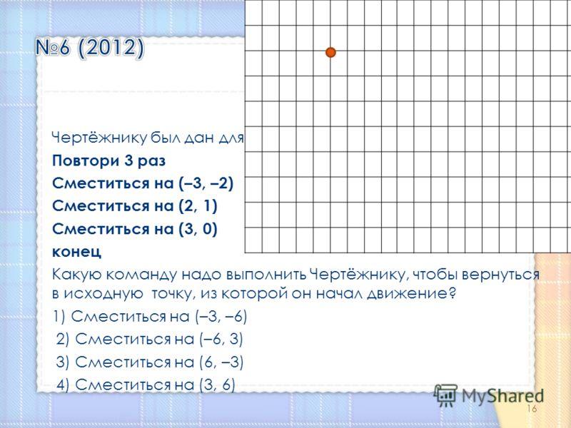 Чертёжнику был дан для исполнения следующий алгоритм: Повтори 3 раз Сместиться на (–3, –2) Сместиться на (2, 1) Сместиться на (3, 0) конец Какую команду надо выполнить Чертёжнику, чтобы вернуться в исходную точку, из которой он начал движение? 1) Сме