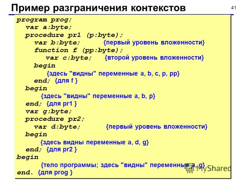 41 Пример разграничения контекстов program prog; var a:byte; procedure pr1 (p:byte); var b:byte; {первый уровень вложенности} function f (pp:byte); var c:byte; {второй уровень вложенности} begin {здесь