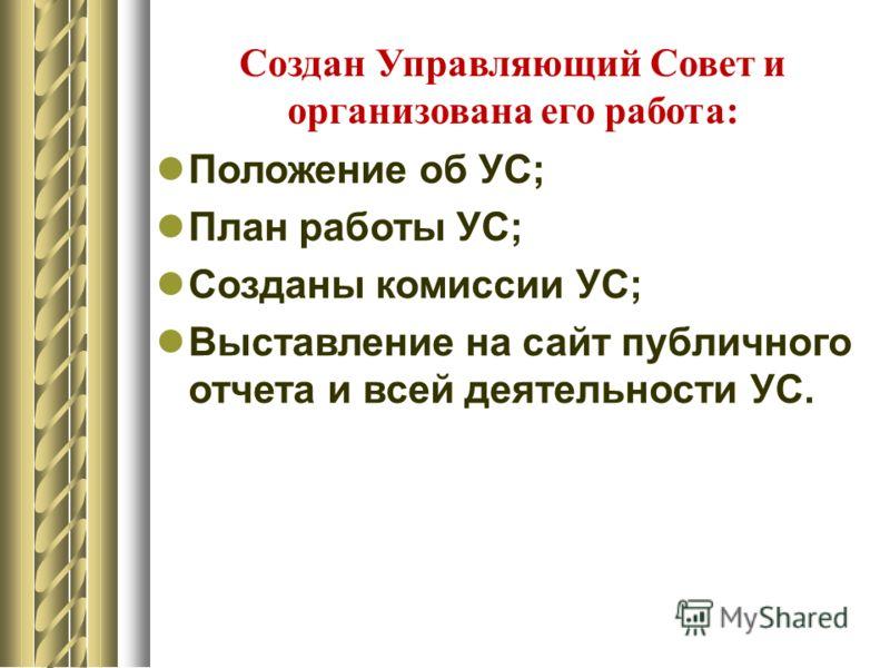 Создан Управляющий Совет и организована его работа: Положение об УС; План работы УС; Созданы комиссии УС; Выставление на сайт публичного отчета и всей деятельности УС.