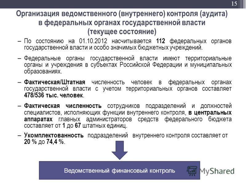 15 Организация ведомственного (внутреннего) контроля (аудита) в федеральных органах государственной власти (текущее состояние) По состоянию на 01.10.2012 насчитывается 112 федеральных органов государственной власти и особо значимых бюджетных учрежден