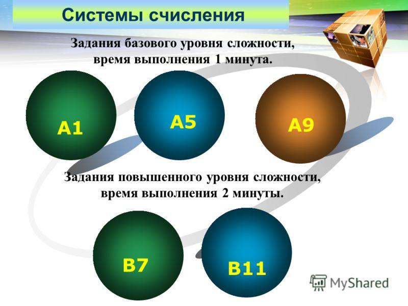 LOGO Системы счисления А1 А5 А9 В7 В11 Задания базового уровня сложности, время выполнения 1 минута. Задания повышенного уровня сложности, время выполнения 2 минуты.