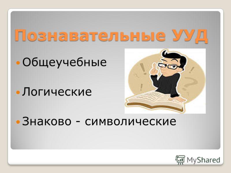 Познавательные УУД Общеучебные Логические Знаково - символические