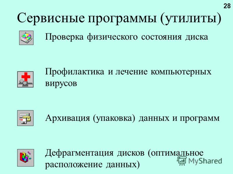 Сервисные программы (утилиты) Проверка физического состояния диска Профилактика и лечение компьютерных вирусов Архивация (упаковка) данных и программ Дефрагментация дисков (оптимальное расположение данных) 28
