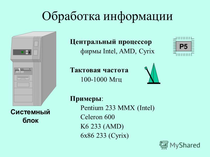 Обработка информации Центральный процессор фирмы Intel, AMD, Cyrix Тактовая частота 100-1000 Мгц Примеры: Pentium 233 MMX (Intel) Celeron 600 K6 233 (AMD) 6x86 233 (Cyrix) P5 Системный блок