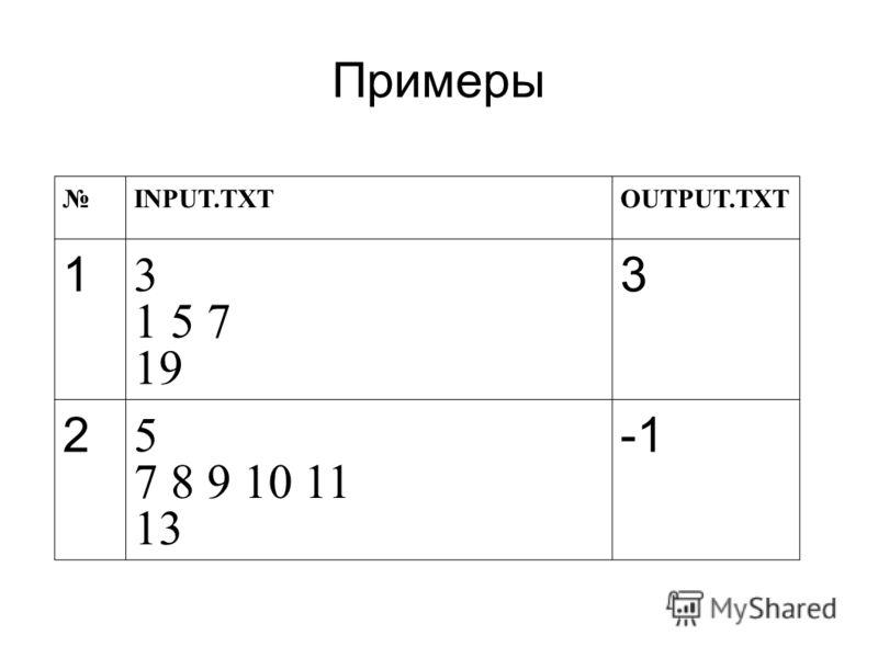 Примеры INPUT.TXTOUTPUT.TXT 1 3 1 5 7 19 3 2 5 7 8 9 10 11 13