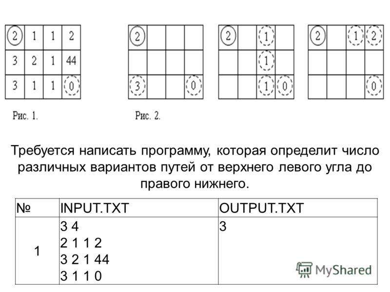 Требуется написать программу, которая определит число различных вариантов путей от верхнего левого угла до правого нижнего. INPUT.TXTOUTPUT.TXT 1 3 4 2 1 1 2 3 2 1 44 3 1 1 0 3