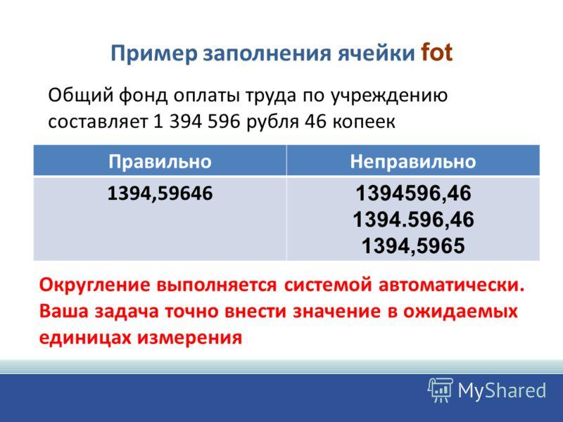 Пример заполнения ячейки fot ПравильноНеправильно 1394,59646 1394596,46 1394.596,46 1394,5965 Общий фонд оплаты труда по учреждению составляет 1 394 596 рубля 46 копеек Округление выполняется системой автоматически. Ваша задача точно внести значение