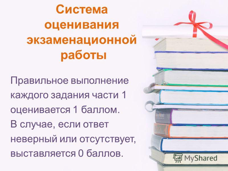 Система оценивания экзаменационной работы Правильное выполнение каждого задания части 1 оценивается 1 баллом. В случае, если ответ неверный или отсутствует, выставляется 0 баллов.