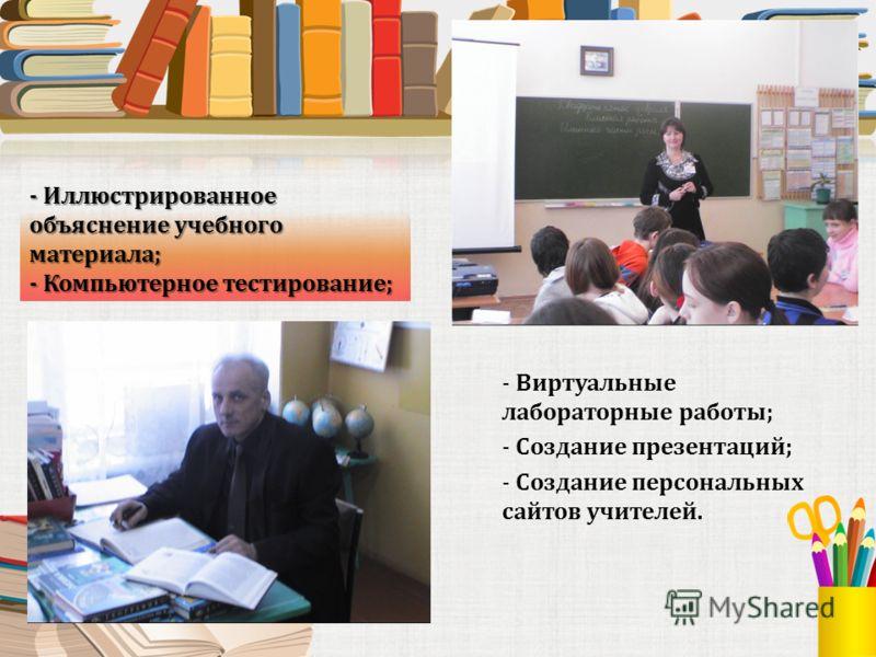 - Иллюстрированное объяснение учебного материала; - Компьютерное тестирование; - Виртуальные лабораторные работы; - Создание презентаций; - Создание персональных сайтов учителей.
