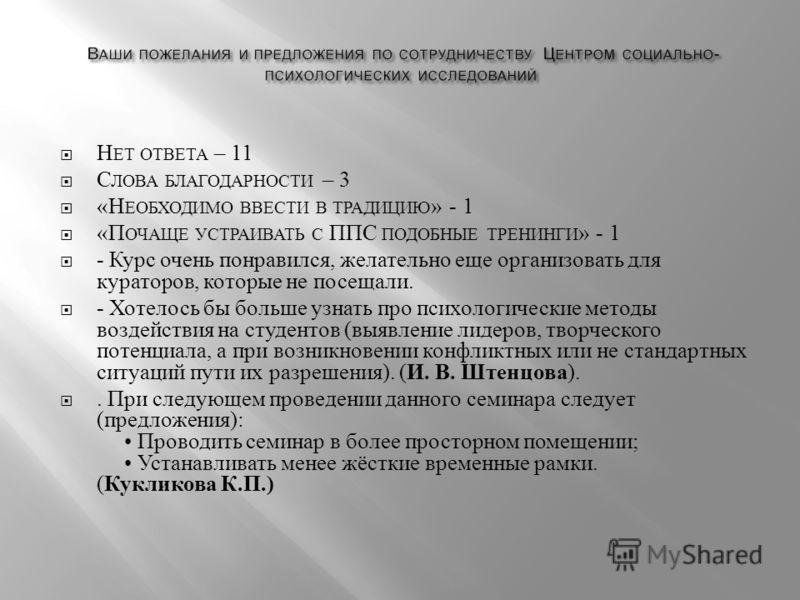 Н ЕТ ОТВЕТА – 11 С ЛОВА БЛАГОДАРНОСТИ – 3 « Н ЕОБХОДИМО ВВЕСТИ В ТРАДИЦИЮ » - 1 « П ОЧАЩЕ УСТРАИВАТЬ С ППС ПОДОБНЫЕ ТРЕНИНГИ » - 1 - Курс очень понравился, желательно еще организовать для кураторов, которые не посещали. - Хотелось бы больше узнать пр