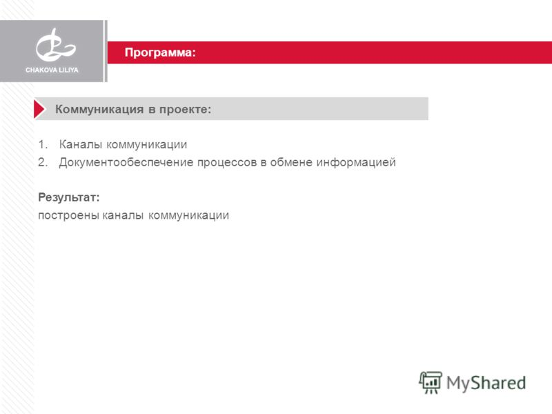 Программа: Коммуникация в проекте: 1.Каналы коммуникации 2.Документообеспечение процессов в обмене информацией Результат: построены каналы коммуникации