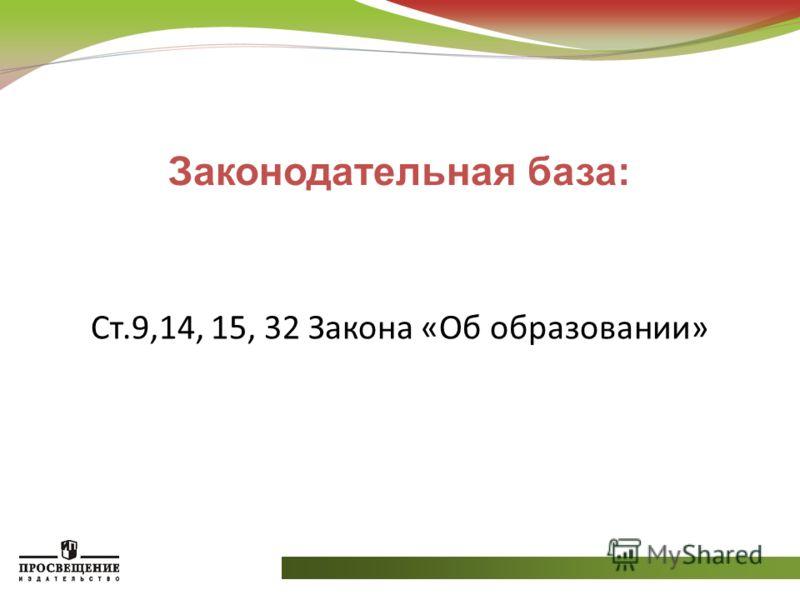 Законодательная база: Ст.9,14, 15, 32 Закона «Об образовании»