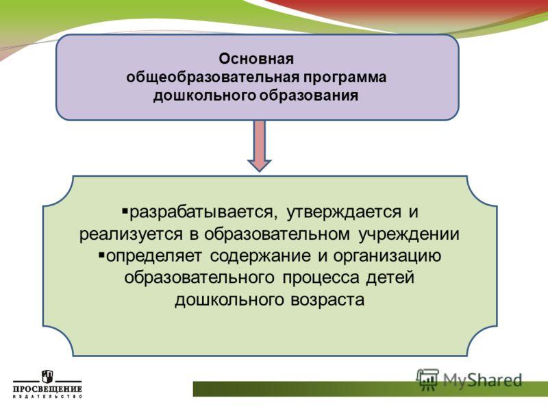 Основная общеобразовательная программа дошкольного образования разрабатывается, утверждается и реализуется в образовательном учреждении определяет содержание и организацию образовательного процесса детей дошкольного возраста