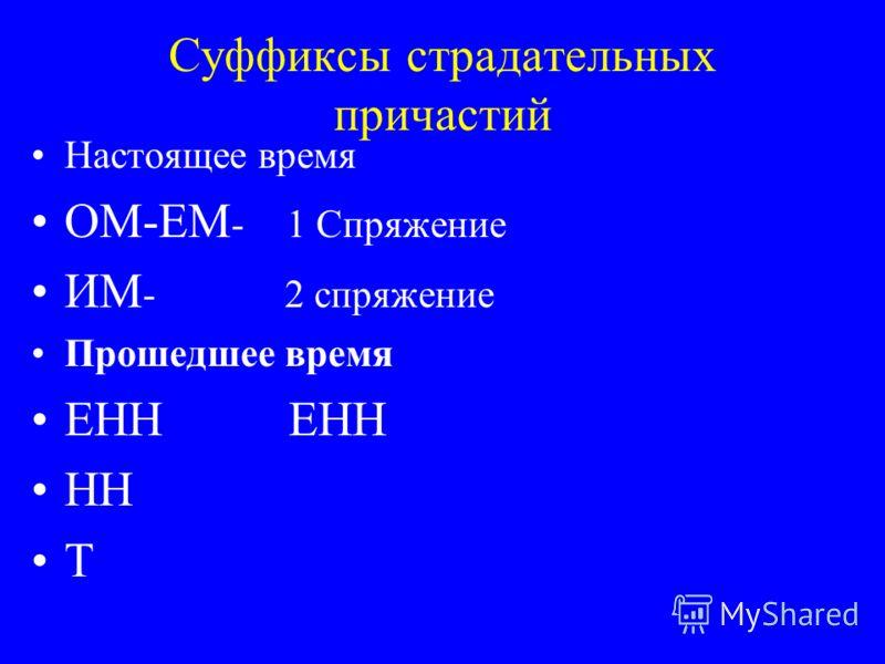 Суффиксы страдательных причастий Настоящее время ОМ-ЕМ - 1 Спряжение ИМ - 2 спряжение Прошедшее время ЕНН НН Т