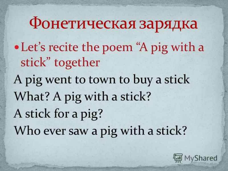 Lets recite the poem A pig with a stick together A pig went to town to buy a stick What? A pig with a stick? A stick for a pig? Who ever saw a pig with a stick?