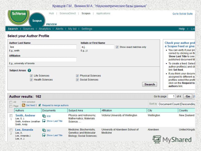 7 Кравцов Г.М., Винник М.А. Наукометрические базы данных