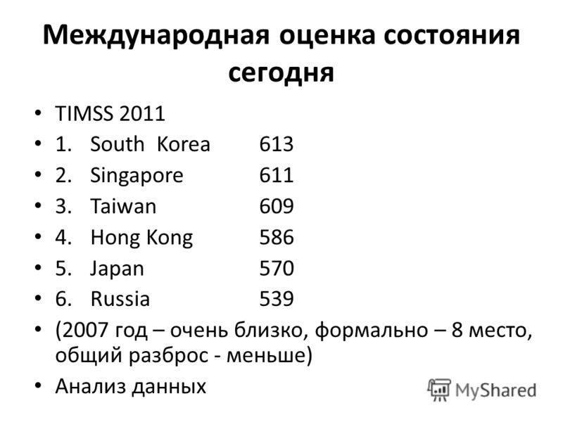 Международная оценка состояния сегодня TIMSS 2011 1.South Korea613 2.Singapore611 3.Taiwan609 4.Hong Kong586 5.Japan570 6.Russia539 (2007 год – очень близко, формально – 8 место, общий разброс - меньше) Анализ данных