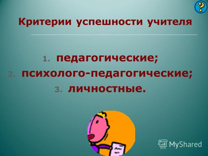 Критерии успешности учителя 1. педагогические; 2. психолого-педагогические; 3. личностные.