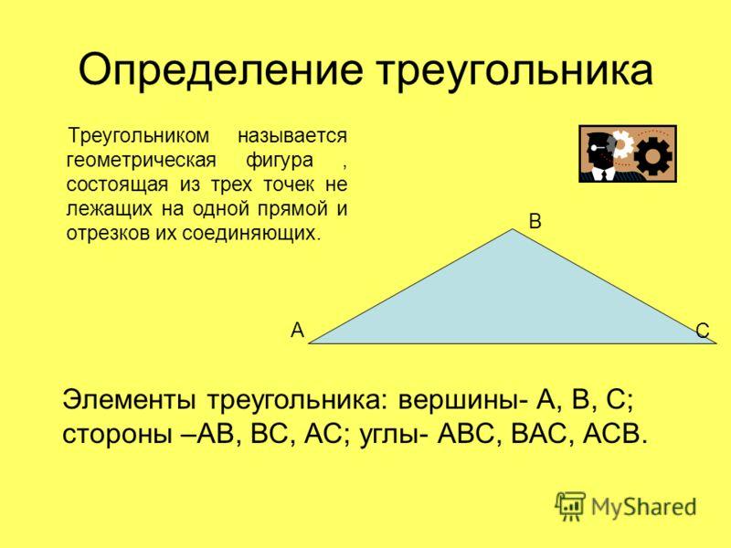 Определение треугольника Треугольником называется геометрическая фигура, состоящая из трех точек не лежащих на одной прямой и отрезков их соединяющих. Элементы треугольника: вершины- А, В, С; стороны –АВ, ВС, АС; углы- АВС, ВАС, АСВ. С А В