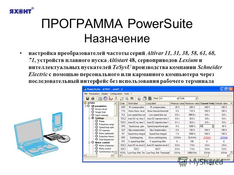 23 ПРОГРАММА PowerSuite Назначение настройка преобразователей частоты серий Altivar 11, 31, 38, 58, 61, 68, 71, устройств плавного пуска Altistart 48, сервоприводов Lexium и интеллектуальных пускателей TeSysU производства компании Schneider Electric