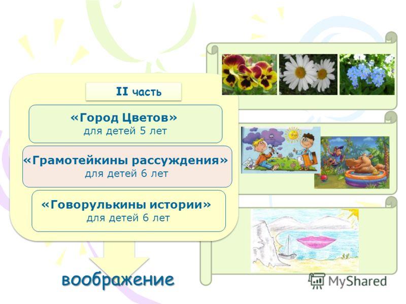 «Город Цветов» для детей 5 лет «Грамотейкины рассуждения» для детей 6 лет «Говорулькины истории» для детей 6 лет II часть воображение