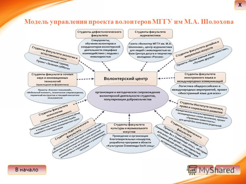 В началоДалееНазад X Модель управления проекта волонтеров МГГУ им М.А. Шолохова