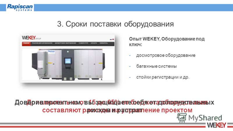 3. Сроки поставки оборудования Дополнительно от 15 до 65% от бюджета оборудования составляют расходы на управление проектом Опыт WEKEY, Оборудование под ключ: -досмотровое оборудование -багажные системы -стойки регистрации и др. Доверив проект нам, в
