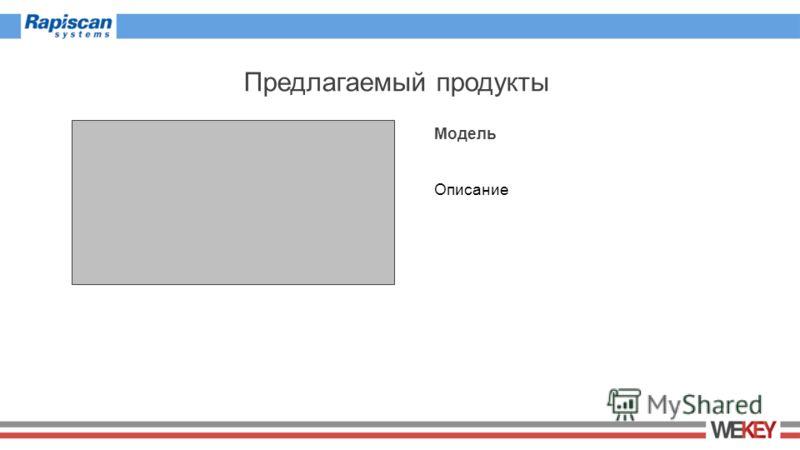 Предлагаемый продукты Модель Описание