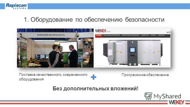1. Оборудование по обеспечению безопасности Поставка качественного, современного оборудования Программное обеспечение Без дополнительных вложений!