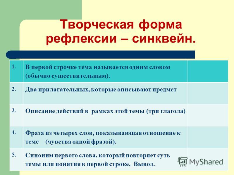 Творческая форма рефлексии – синквейн. 1. В первой строчке тема называется одним словом (обычно существительным). 2. Два прилагательных, которые описывают предмет 3. Описание действий в рамках этой темы (три глагола) 4. Фраза из четырех слов, показыв