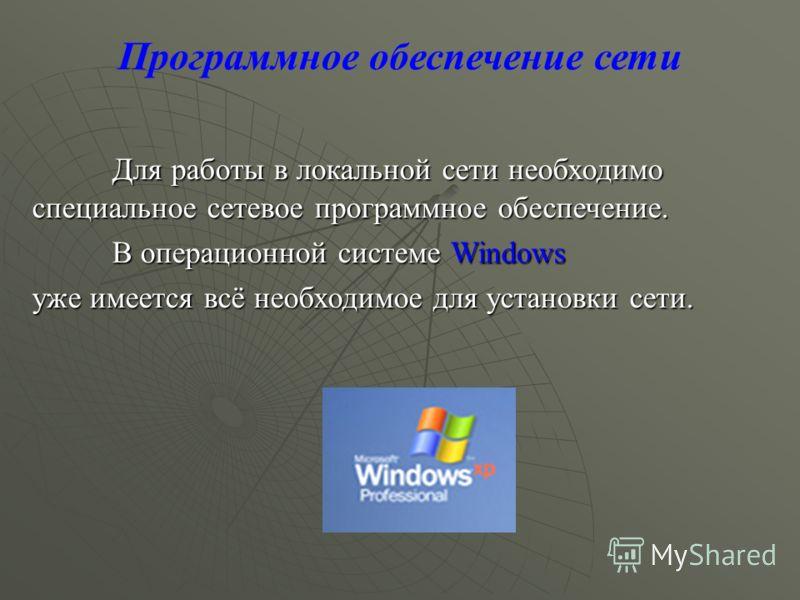 Программное обеспечение сети Для работы в локальной сети необходимо специальное сетевое программное обеспечение. Для работы в локальной сети необходимо специальное сетевое программное обеспечение. В операционной системе Windows уже имеется всё необхо