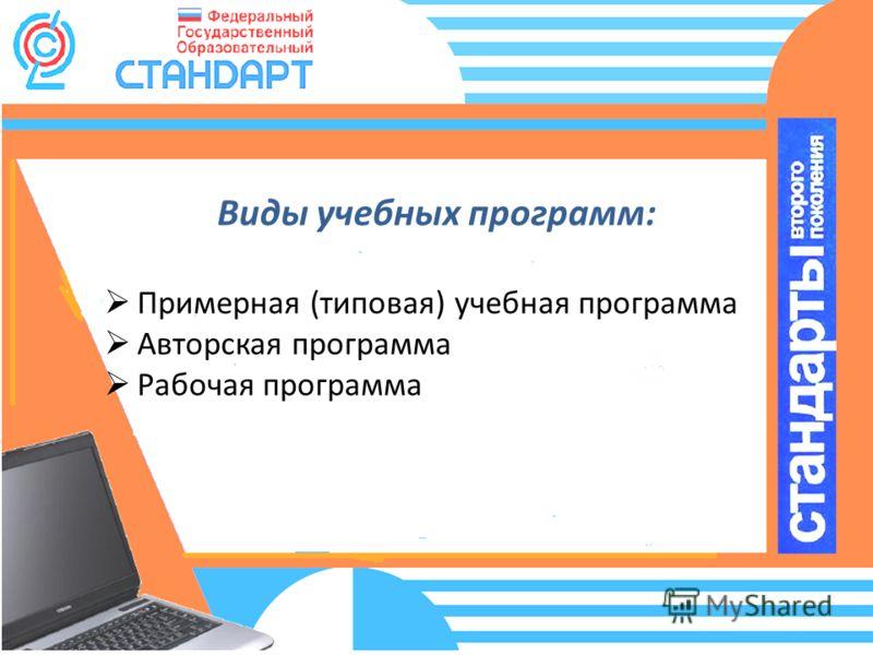 Виды учебных программ: Примерная (типовая) учебная программа Авторская программа Рабочая программа