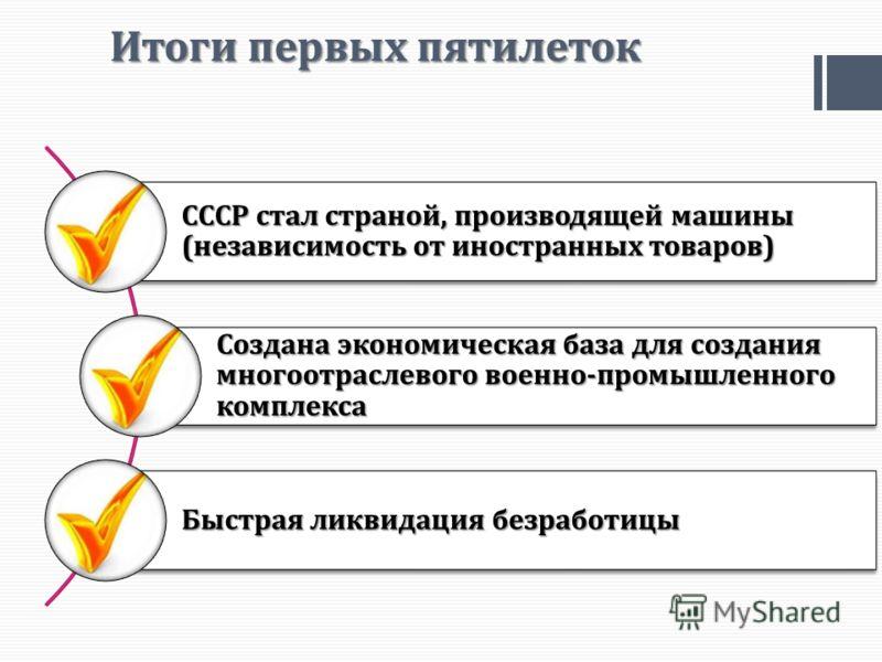 Итоги первых пятилеток СССР стал страной, производящей машины (независимость от иностранных товаров) Создана экономическая база для создания многоотраслевого военно-промышленного комплекса Быстрая ликвидация безработицы