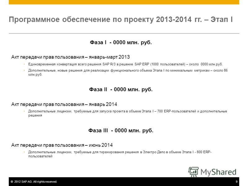 ©2012 SAP AG. All rights reserved.9 Программное обеспечение по проекту 2013-2014 гг. – Этап I Фаза I - 0000 млн. руб. Акт передачи прав пользования – январь-март 2013 Единовременная конвертация всего решения SAP R/3 в решение SAP ERP (1000 пользовате