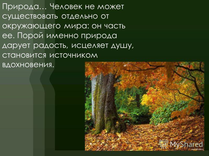 Природа… Человек не может существовать отдельно от окружающего мира: он часть ее. Порой именно природа дарует радость, исцеляет душу, становится источником вдохновения.