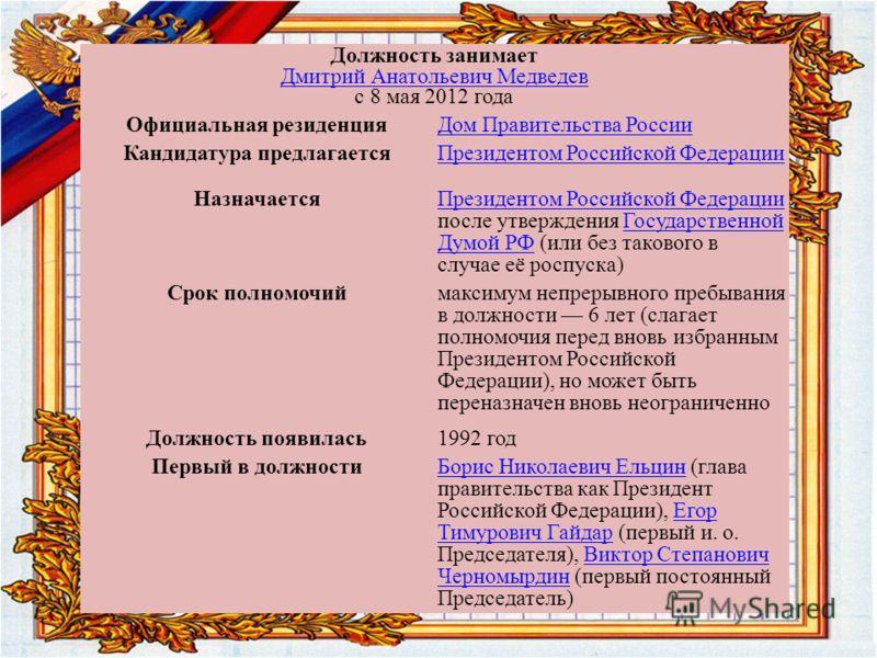 Должность занимает Дмитрий Анатольевич Медведев с 8 мая 2012 года Дмитрий Анатольевич Медведев Официальная резиденцияДом Правительства России Кандидатура предлагаетсяПрезидентом Российской Федерации Назначается Президентом Российской Федерации Презид