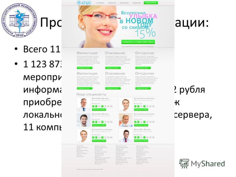 Программа модернизации: Всего 11 098 514 рублей: 1 123 873 рубля на обеспечение мероприятий по внедрению информационных систем (581 972 рубля приобретение программ и монтаж локальной сети; 541 901 рубль: 2 сервера, 11 компьютеров и 6 принтеров