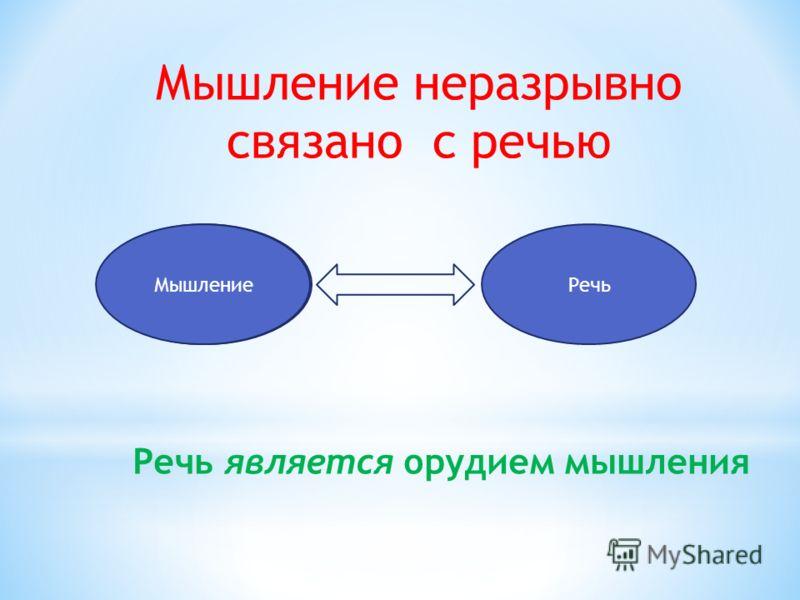 Мышление неразрывно связано с речью МышлениеРечь Речь является орудием мышления