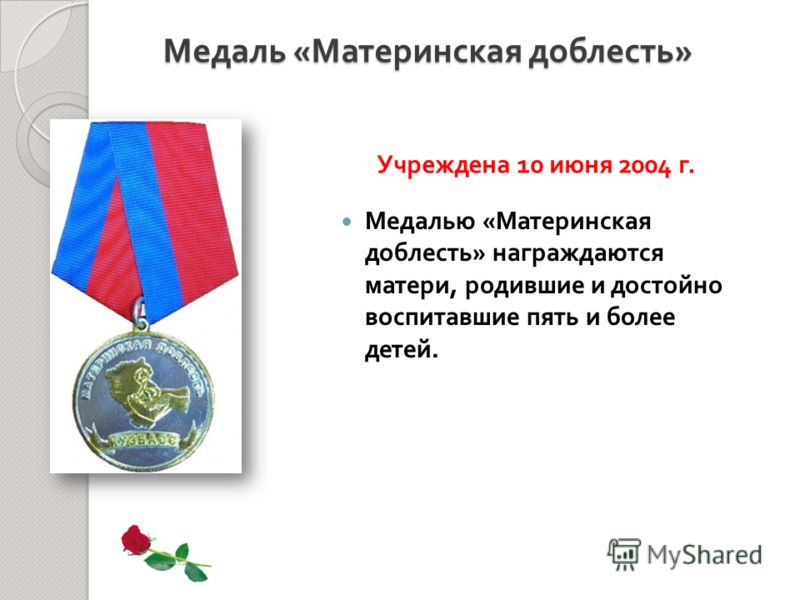 Медалью « Материнская доблесть » награждаются матери, родившие и достойно воспитавшие пять и более детей. Медаль « Материнская доблесть » Учреждена 10 июня 2004 г.