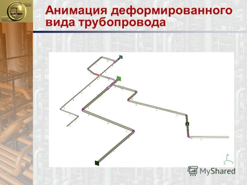 Анимация деформированного вида трубопровода