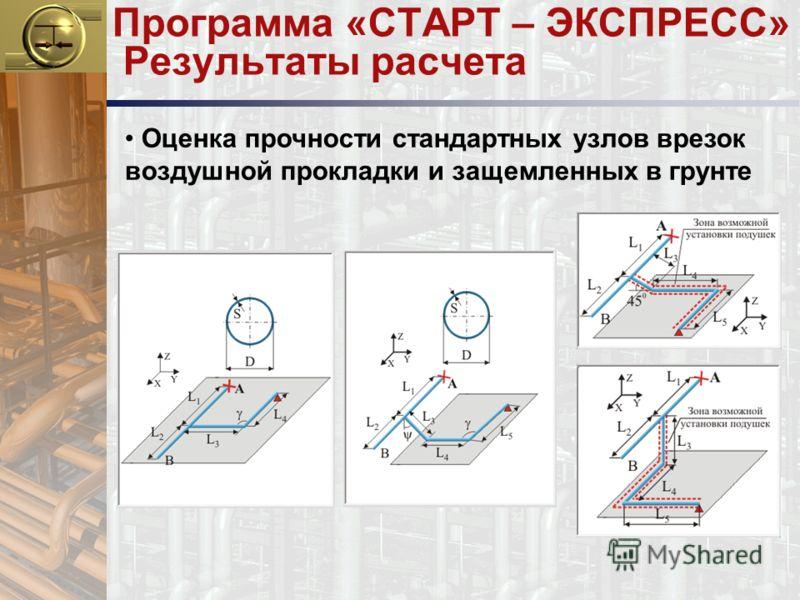 Программа «СТАРТ – ЭКСПРЕСС» Результаты расчета Оценка прочности стандартных узлов врезок воздушной прокладки и защемленных в грунте