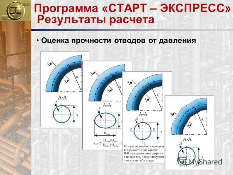 Программа «СТАРТ – ЭКСПРЕСС» Результаты расчета Оценка прочности отводов от давления