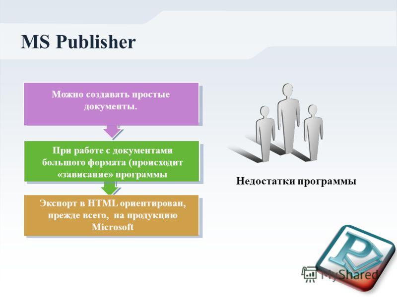 MS Publisher Недостатки программы Можно создавать простые документы. При работе с документами большого формата (происходит «зависание» программы Экспорт в HTML ориентирован, прежде всего, на продукцию Microsoft
