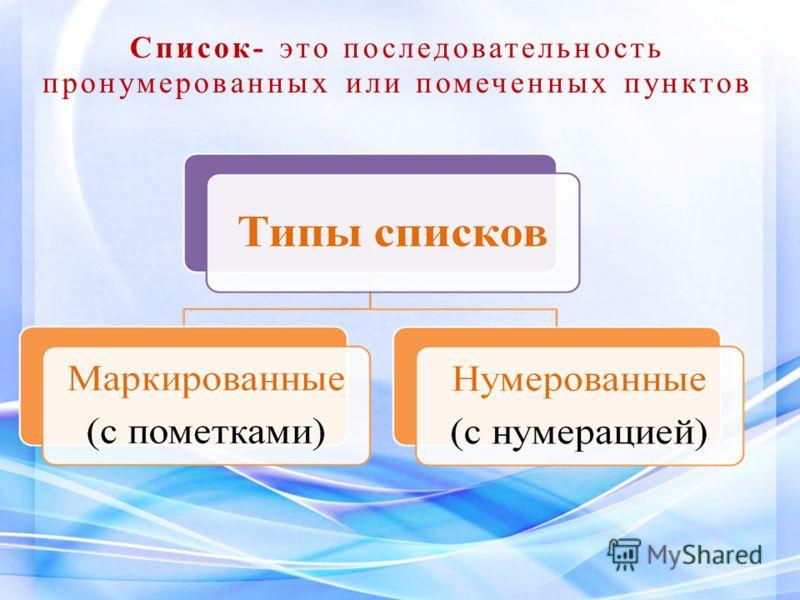 Список- это последовательность пронумерованных или помеченных пунктов