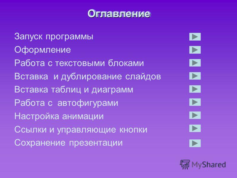 ОглавлениеОглавление Запуск программы Оформление Работа с текстовыми блоками Вставка и дублирование слайдов Вставка таблиц и диаграмм Работа с автофигурами Настройка анимации Ссылки и управляющие кнопки Сохранение презентации