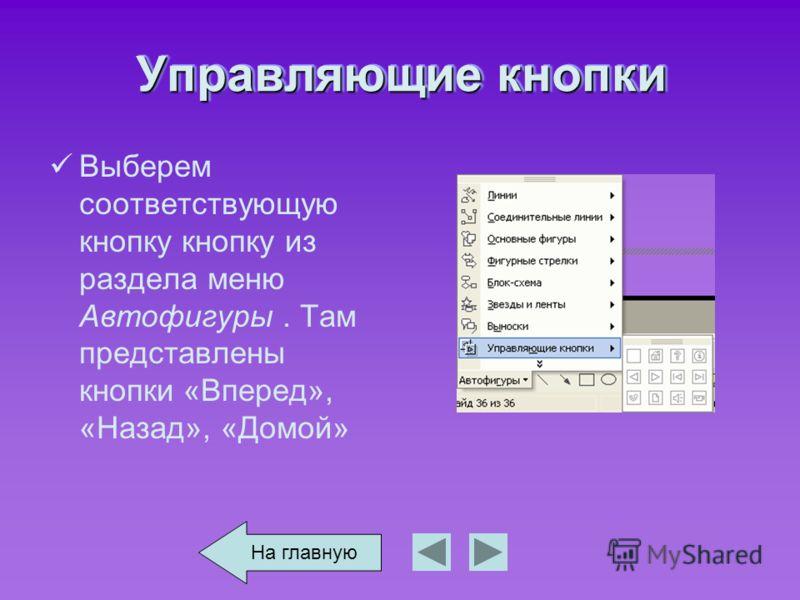 Управляющие кнопки Выберем соответствующую кнопку кнопку из раздела меню Автофигуры. Там представлены кнопки «Вперед», «Назад», «Домой» На главную