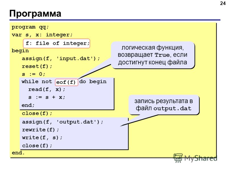 Программа 24 program qq; var s, x: integer; begin assign(f, 'input.dat'); reset(f); s := 0; close(f); end. program qq; var s, x: integer; begin assign(f, 'input.dat'); reset(f); s := 0; close(f); end. while not eof(f) do begin read(f, x); s := s + x;