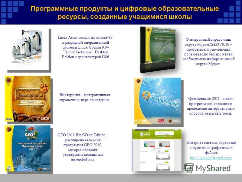 Программные продукты и цифровые образовательные ресурсы, созданные учащимися школы Questionnaire 2011 - пакет программ для создания и проведения интерактивных опросов на разные темы. Электронный справочник округа Муром(GEO 2010) – программа, позволяю